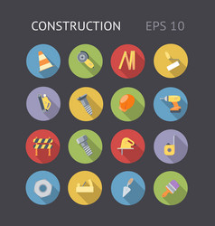 Flat icons for construction and industry vector
