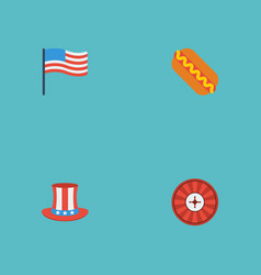 flat icons roulette america usa hat and other vector image vector image