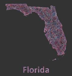 Florida line art map vector