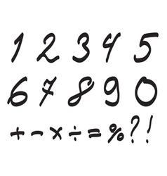 Font handwritten by toddler arabic numerals set vector