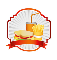 French fries sandwich and soda inside emblem vector