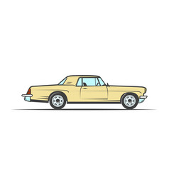 hand-drawn yellow old car vector image vector image