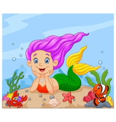 Happy little mermaid laying on the sand vector image vector image