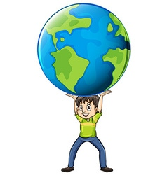 Happy man holding the world vector image vector image