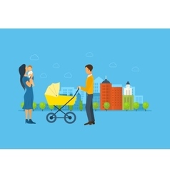 Happy young family with stroller and a baby walk vector