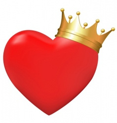 heart in crown vector image