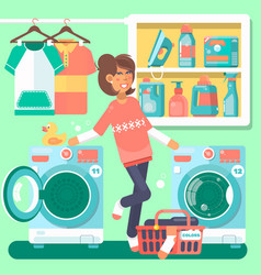 Housewife in the laundry room vector