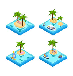 Island vacation isometric set vector