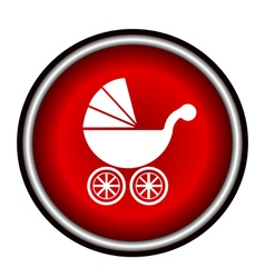 Isolated white baby carriage silhouette on red cir vector