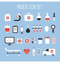 Medical and health colorful icons set Design vector image