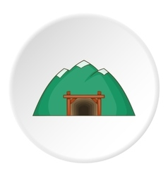 Mine in mountain icon cartoon style vector