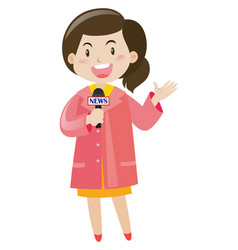 news reporter with microphone vector image vector image