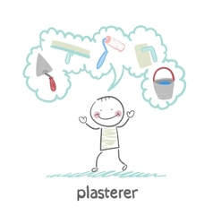 Plasterer thinks about his instruments for vector