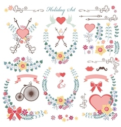 Retro Holiday set with flowersswirls decoreps vector image