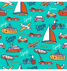 Seamless pattern with different transport vector image