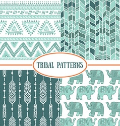 Set of tribal striped seamless pattern geometric vector