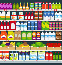 Store shelves with groceries background vector