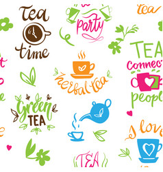 Teatime quote set lettering cup of tea vector