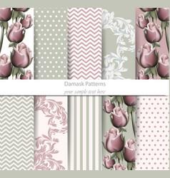vintage patterns set rose floral desing vector image vector image