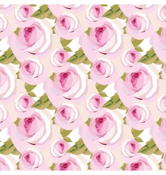 Watercolor pink rose flowers pattern vector