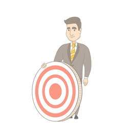 Young caucasian businessman and dart board vector