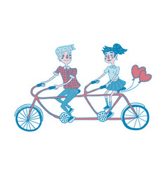 young couple riding tandem bicycle dating vector image