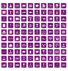 100 business icons set grunge purple vector image vector image