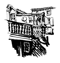 Black and white sketching of old building in budva vector