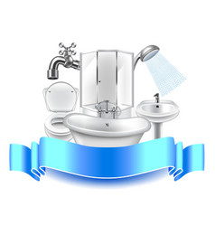 Plumbing composition isolated on white background vector image