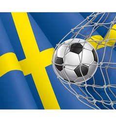 Soccer goal and sweden flag vector