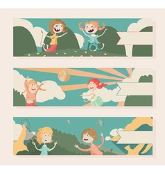 Horizontal banners with kids playing outdoor vector