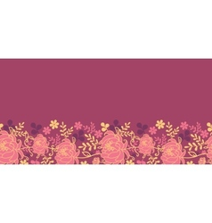 Red flowers and leaves horizontal seamless pattern vector image