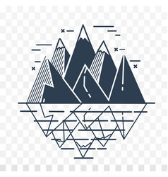 Icon of mountains in a linear vector