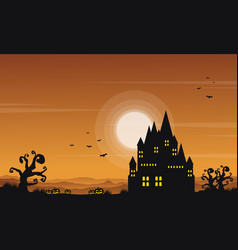 Landscape castle halloween style collection vector