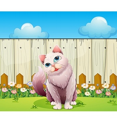 A big cat near the wooden fence vector