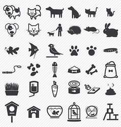 Pet icons set vector