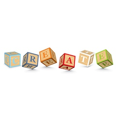 Word create written with alphabet blocks vector