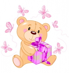Teddy bear with pink gift vector