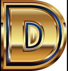 Golden font letter d vector