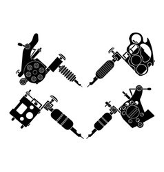 Set of 4 different style tattoo machines vector