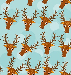 Deer seamless pattern with funny cute animal face vector