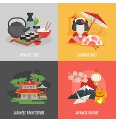Japanese culture flat icon set vector