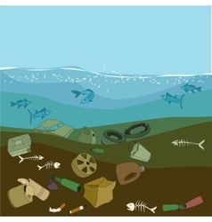 Water pollution in the ocean garbagewaste vector