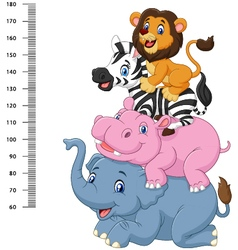 Height scale with funny africa animal collection vector