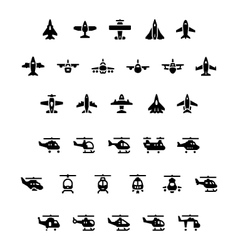 Set icons of planes and helicopters vector