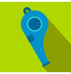 Blue sport whistle flat icon vector