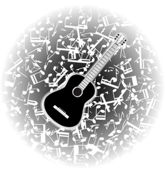Acoustic guitar on the background of musical notes vector