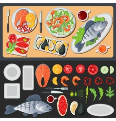 Sea food healthy food prepared fish vegetables vector