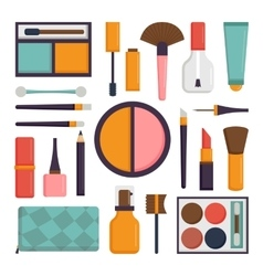 set make up brushes and beauty fashion vector image