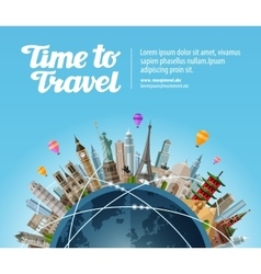 Landmarks on the globe travel to world tourism vector